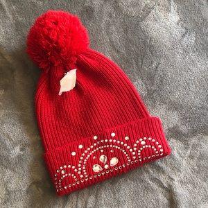 New knitted Pom Pom bedazzle rhinestone red beanie